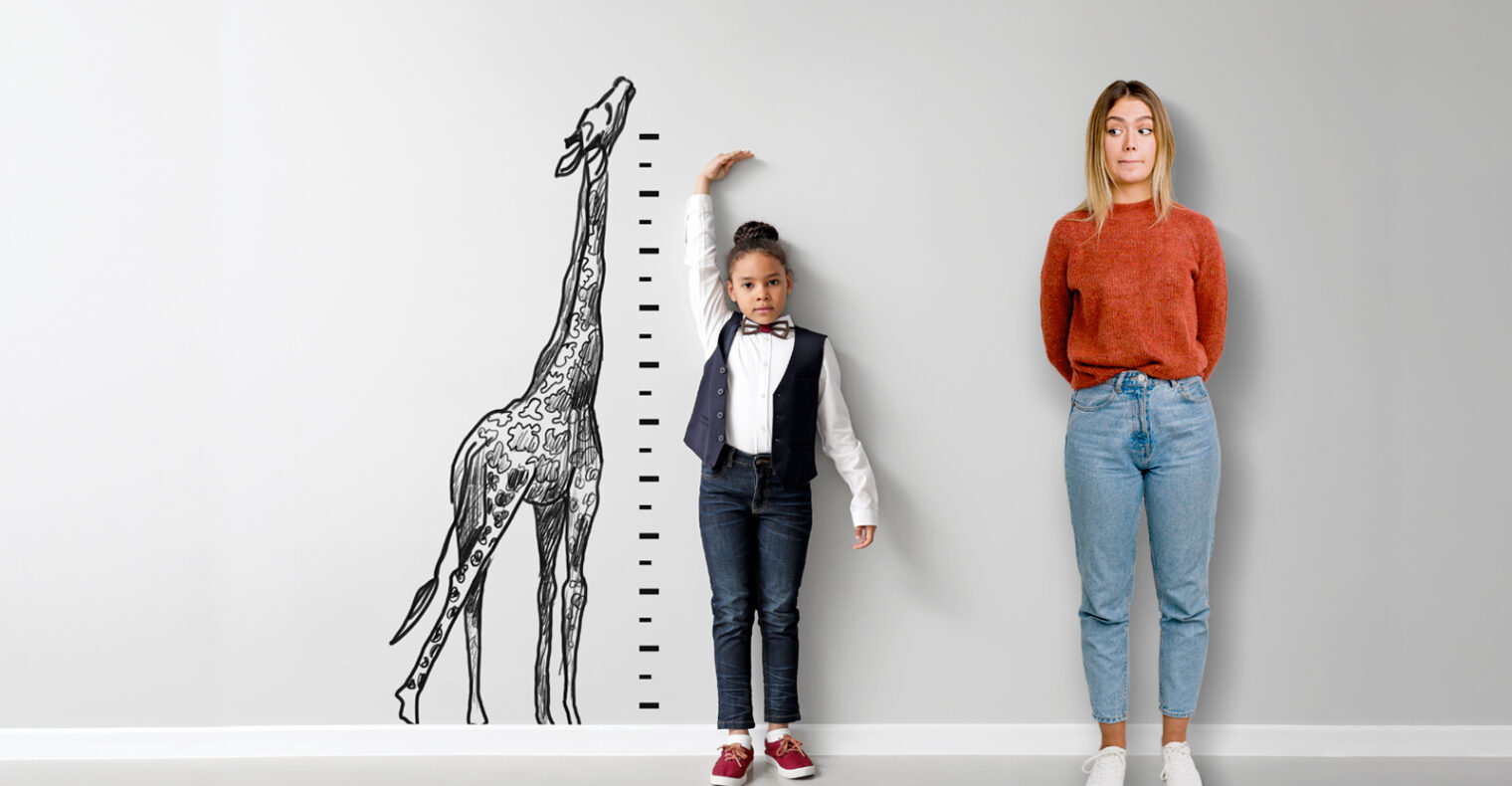 kid measuring themselves and adult looking confussed